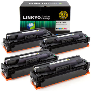 LINKYO Replacement for HP 410X CF410X High Yield Color Toner Cartridges (Black, Cyan, Magenta, Yellow, 4-Pack)