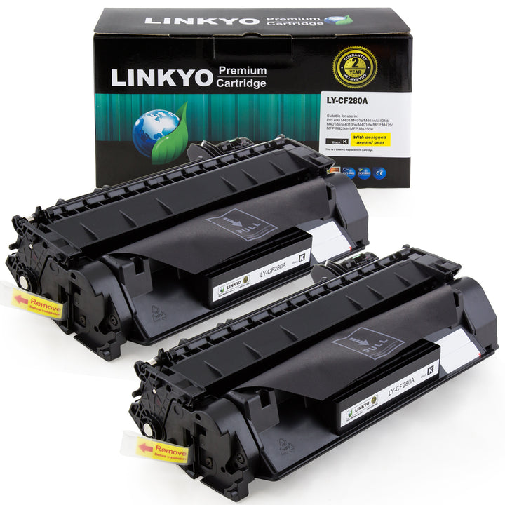 LINKYO Replacement Toner Cartridge for HP 80A CF280A (Black, 2-Pack)