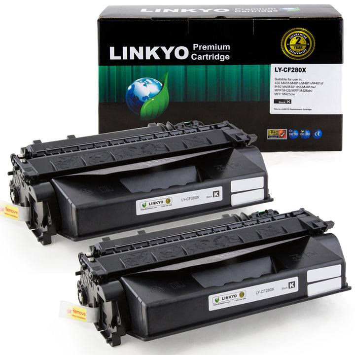 LINKYO Replacement Toner Cartridge for HP 80X CF280X (Black, High Yield, 2-Pack)