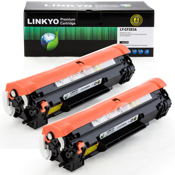 LINKYO Replacement Toner Cartridge for HP 83A CF283A (Black, 2-Pack)
