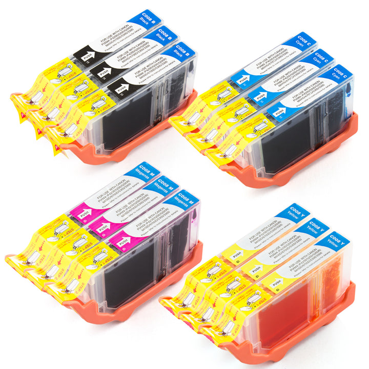 LINKYO Replacement 12-Color Ink Set for Canon CLI-8 Ink Cartridges (3x Black, 3x Cyan, 3x Magenta, 3x Yellow)