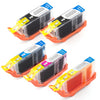 LINKYO Replacement 5-Color Ink Set for Canon PGI-5 CLI-8 (2x PGI Black, Cyan, Magenta, Yellow)