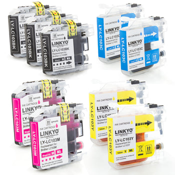 LINKYO Replacement 9-Color Ink Cartridge Set for Brother LC103 (3x Black, 2x Cyan, 2x Magenta, 2x Yellow)
