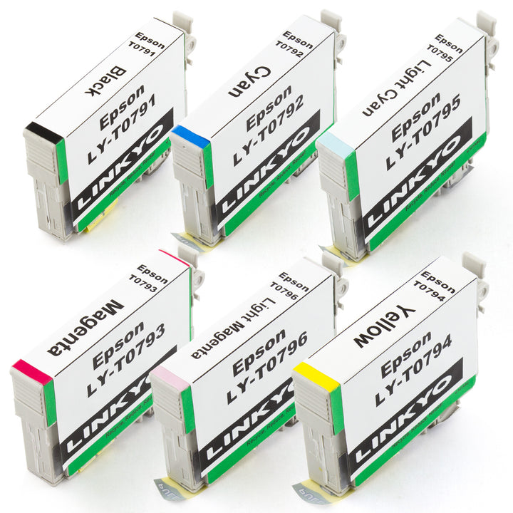 LINKYO Replacement 6-Color Ink Set for Epson 79 (Black, Cyan, Magenta, Yellow, Light Cyan, Light Magenta)