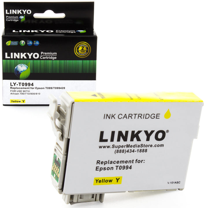 LINKYO Replacement Yellow Ink Cartridge for Epson 99 (T099420)
