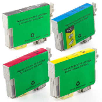 LINKYO Replacement 4-Color Ink Cartridge Set for Epson 69 (Black, Cyan, Magenta, Yellow)