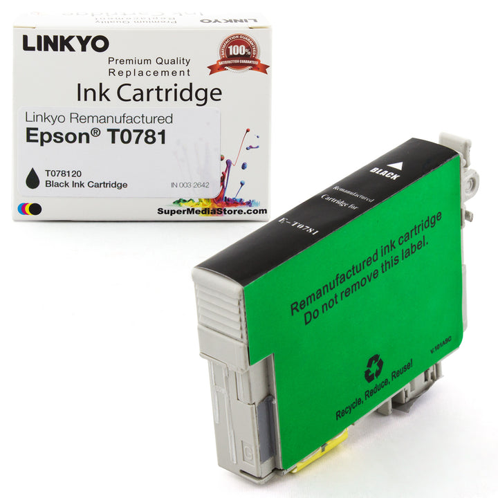 LINKYO Replacement Black Ink Cartridge for Epson 78 (T078120)
