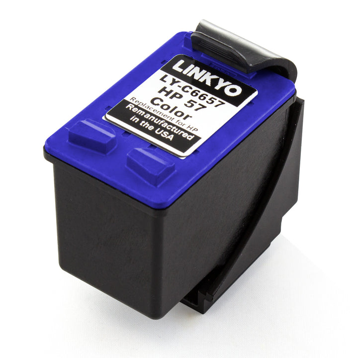LINKYO Replacement 3-Color Ink Set for HP 56 & 57 (2x Black, Tri-Color)