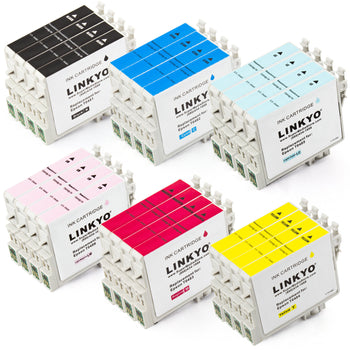 LINKYO Replacement 24-Color Ink Cartridge Set for Epson 48 (4x Black, 4x Cyan, 4x Magenta, 4x Yellow, 4x Light Cyan, 4x Light Magenta)