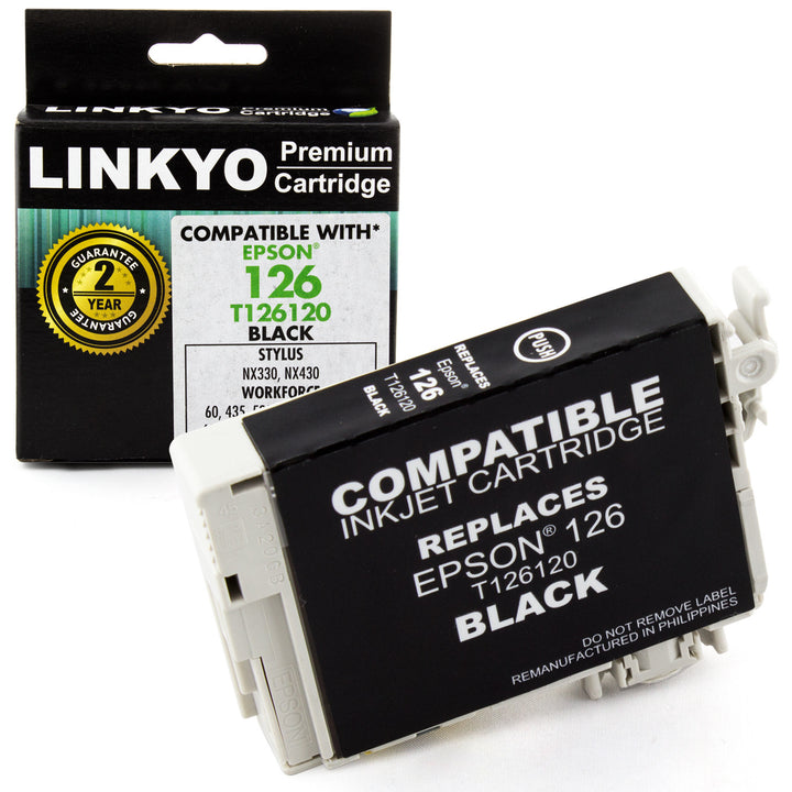 LINKYO Replacement Black Ink Cartridge for Epson 126 (T126120)