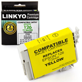 LINKYO Replacement Yellow Ink Cartridge for Epson 126 (T126420)