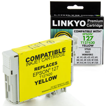 LINKYO Replacement Yellow Ink Cartridge for Epson 127 (T127420)