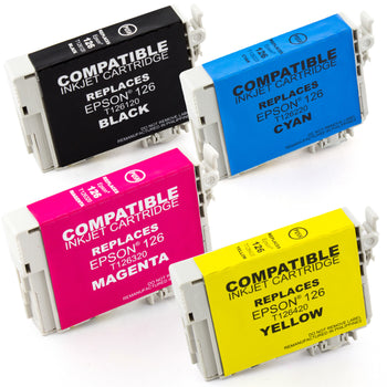 LINKYO Replacement 4-Color Ink Cartridge Set for Epson 126 (Black, Cyan, Magenta, Yellow)