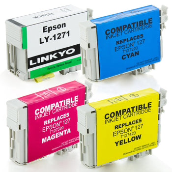 LINKYO Replacement 4-Color Ink Cartridge Set for Epson 127 (Black, Cyan, Magenta, Yellow)