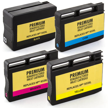 LINKYO Replacement 4-Color Ink Cartridge Set for HP 932XL 933XL (Black, Cyan, Magenta, Yellow)
