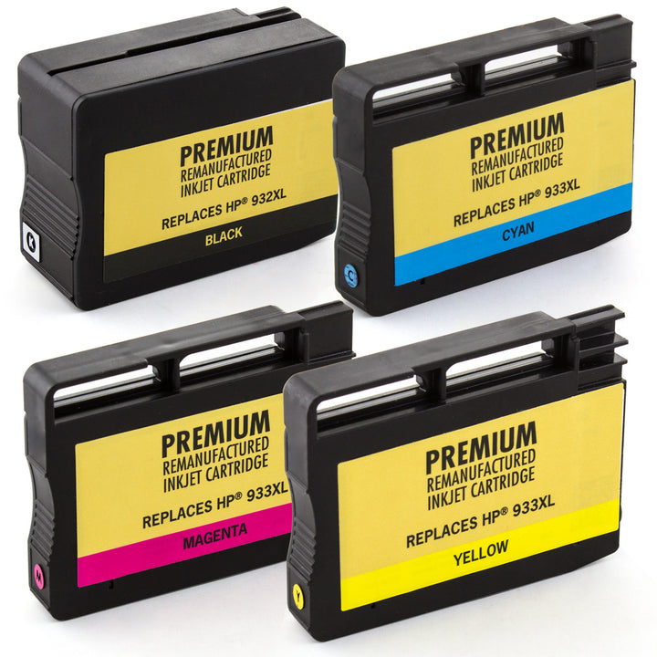 LINKYO Replacement 4-Color Ink Set for HP 932XL 933XL (Black, Cyan, Magenta, Yellow)
