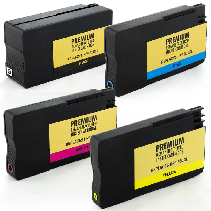 LINKYO Replacement 4-Color Ink Set for HP 950XL 951XL (Black, Cyan, Magenta, Yellow)