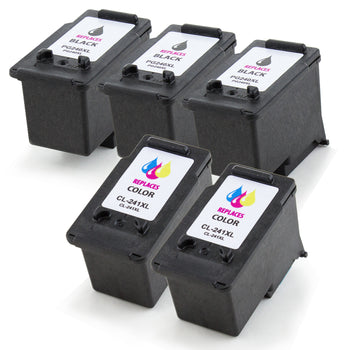 LINKYO Replacement 5-Color Ink Cartridge Set for Canon PG-240XL CL-241XL (3x Black, 2x Color)