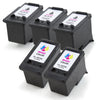 LINKYO Replacement 5-Color Ink Set for Canon PG-240XL CL-241XL (3x Black, 2x Color)