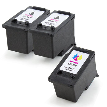 LINKYO Replacement 3-Color Ink Cartridge Set for Canon PG-240XL CL-241XL (2x Black, Color)
