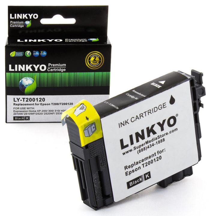LINKYO Replacement Black Ink Cartridge for Epson 200 (T200120)
