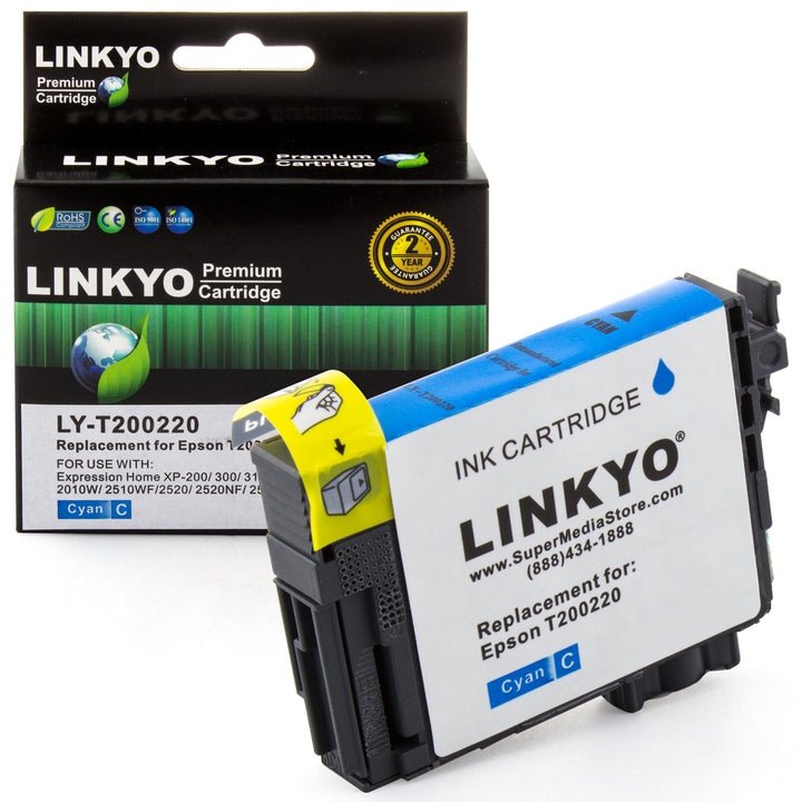LINKYO Replacement Cyan Ink Cartridge for Epson 200 (T200220)