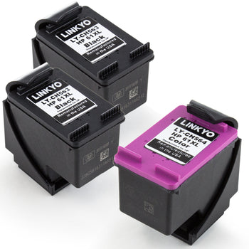 LINKYO Replacement 3-Color Ink Cartridge Set for HP 61XL (2x Black, Tri-Color)