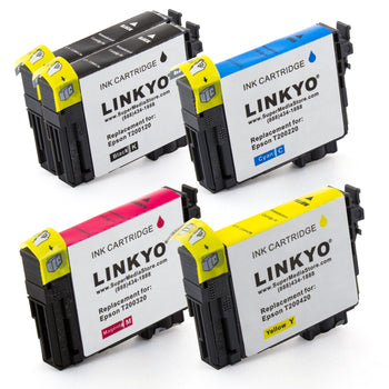 LINKYO Replacement 5-Color Ink Cartridge Set for Epson 200 (2x Black, Cyan, Magenta, Yellow)