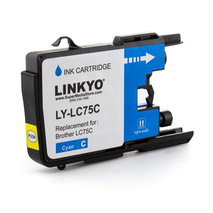 LINKYO Replacement Cyan Ink Cartridge for Brother LC75C