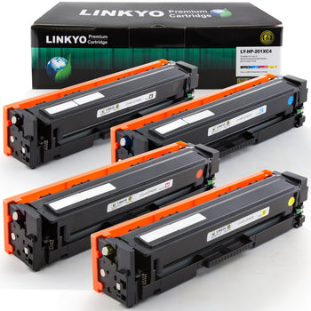 LINKYO Replacement for HP 201X CF400X CF401X CF402X CF403X High Yield Color Toner Cartridges (Black, Cyan, Magenta, Yellow, 4 Pack)