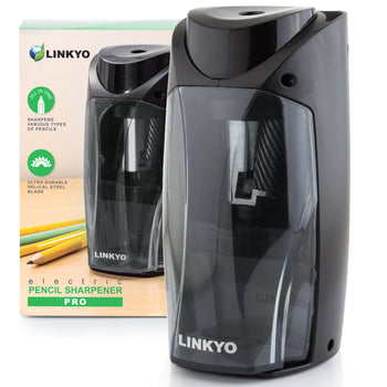 LINKYO Electric Pencil Sharpener Pro with Multi Size Insert Slot (Black)