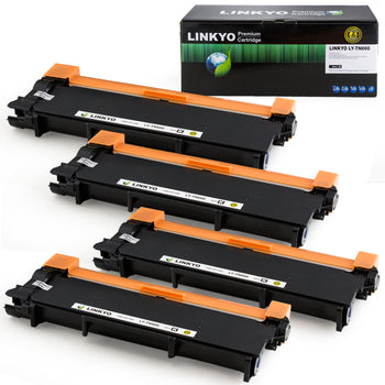 LINKYO Replacement Toner Cartridge for Brother TN660 (Black, High Yield, 4-Pack)