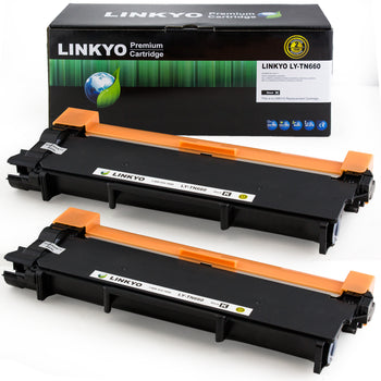 LINKYO Replacement Toner Cartridge for Brother TN660 (Black, 2-Pack)