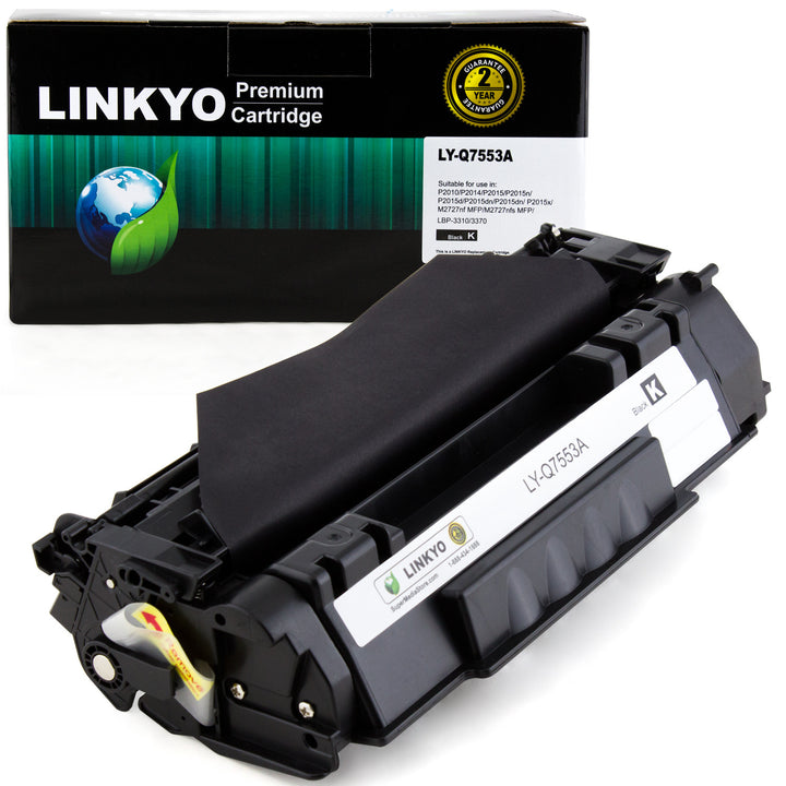 LINKYO Replacement Black Toner Cartridge for HP 53A Q7553A