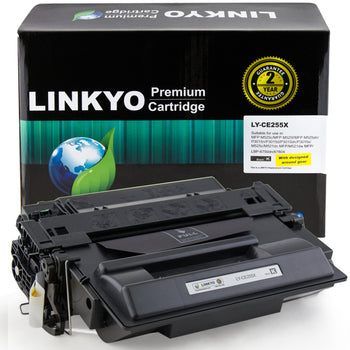 LINKYO Replacement Black Toner Cartridge for HP 55X CE255X