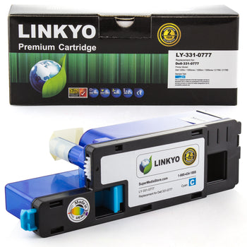 LINKYO Replacement Cyan Toner Cartridge for Dell 1250, 1350, 1355, C1760, C1765