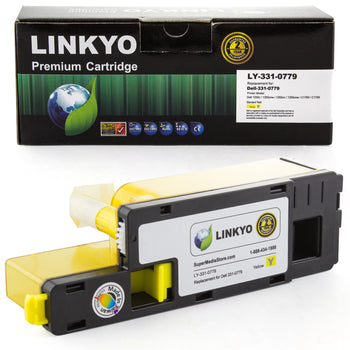 LINKYO Replacement Yellow Toner Cartridge for Dell 1250, 1350, 1355, C1760, C1765