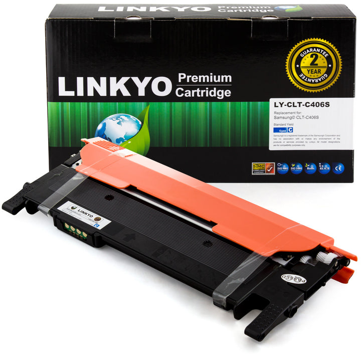 LINKYO Replacement Cyan Toner Cartridge for Samsung CLT-C406S (CLP365W, CLX3305FW)