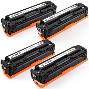 LINKYO Replacement 4-Color Toner Set for HP 128A (Black, Cyan, Magenta, Yellow)