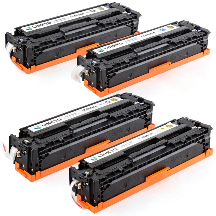 LINKYO Replacement 4-Color Toner Set for HP 125A (Black, Cyan, Magenta, Yellow)