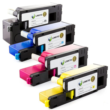 LINKYO Replacement 4-Color Toner Set for Xerox 6015 6010 (Black, Cyan, Magenta, Yellow)