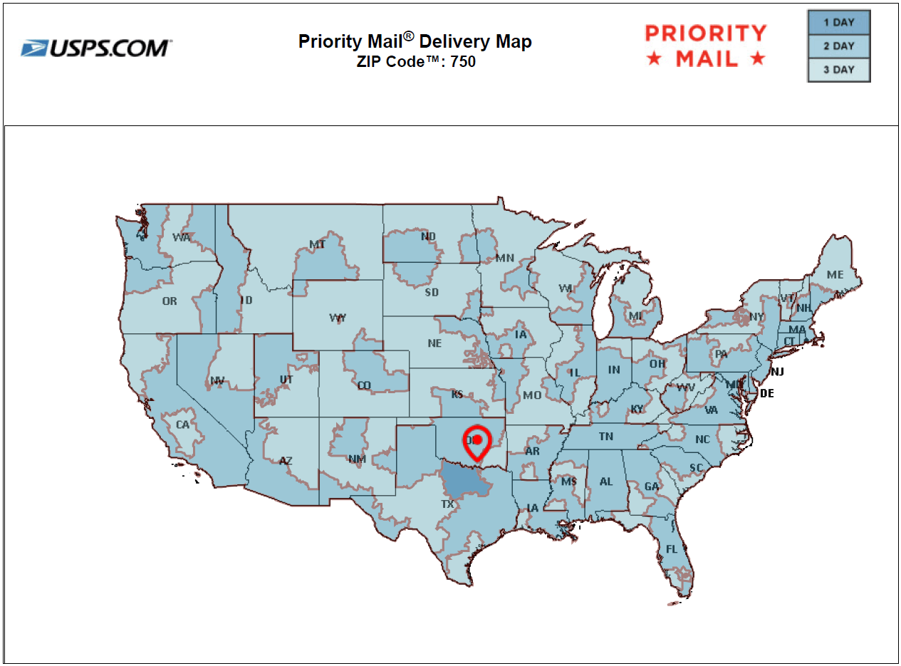 Priority Mail for Packages Shipped From 750