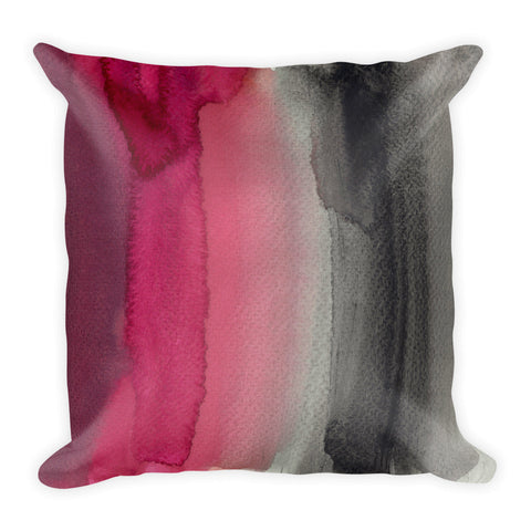 Pink & Black Watercolor Square Pillow