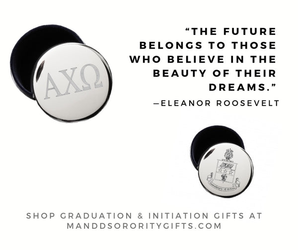 Shop Alpha Chi Omega jewelry and pin boxes for senior graduation gifts and initiation gifts.