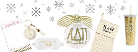 Shop Sorority Holiday Ornaments stockings gold