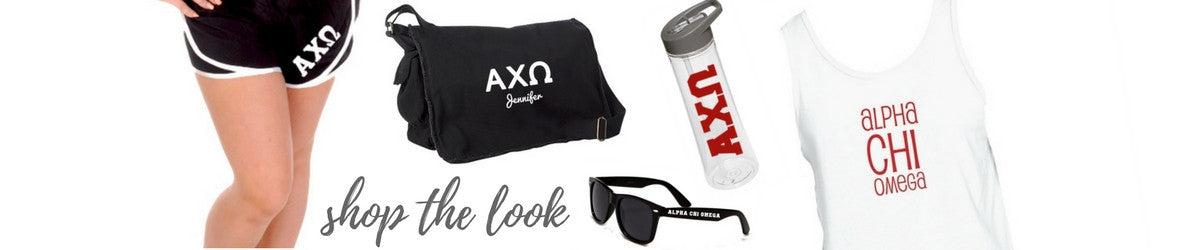 Back to School Shop the look sorority shorts, book bags, sunglasses, water bottles, and clothing.