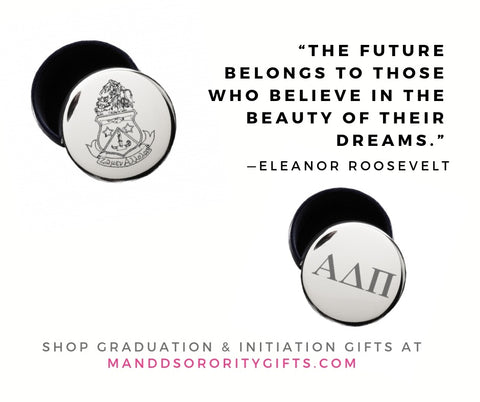 Shop Alpha Delta Pi jewelry and pin boxes for senior graduation gifts and initiation gifts.