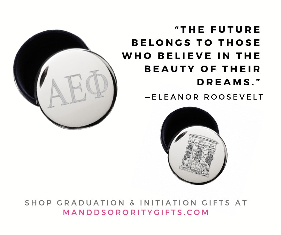 Shop Alpha Epsilon Phi jewelry and pin boxes for senior graduation gifts and initiation gifts.