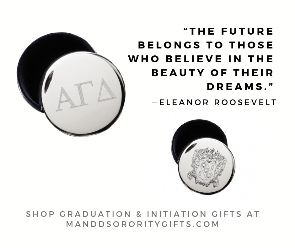 Shop Alpha Gamma Delta jewelry and pin boxes for senior graduation gifts and initiation gifts.