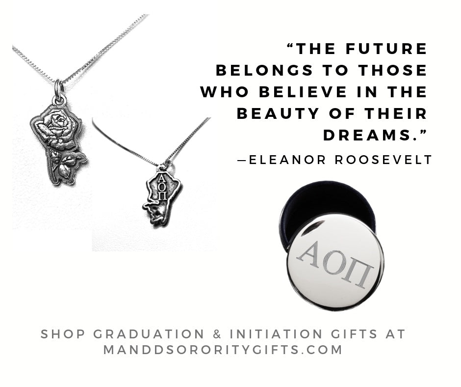 Shop Alpha Omicron Pi jewelry and pin boxes for senior graduation gifts and initiation gifts.